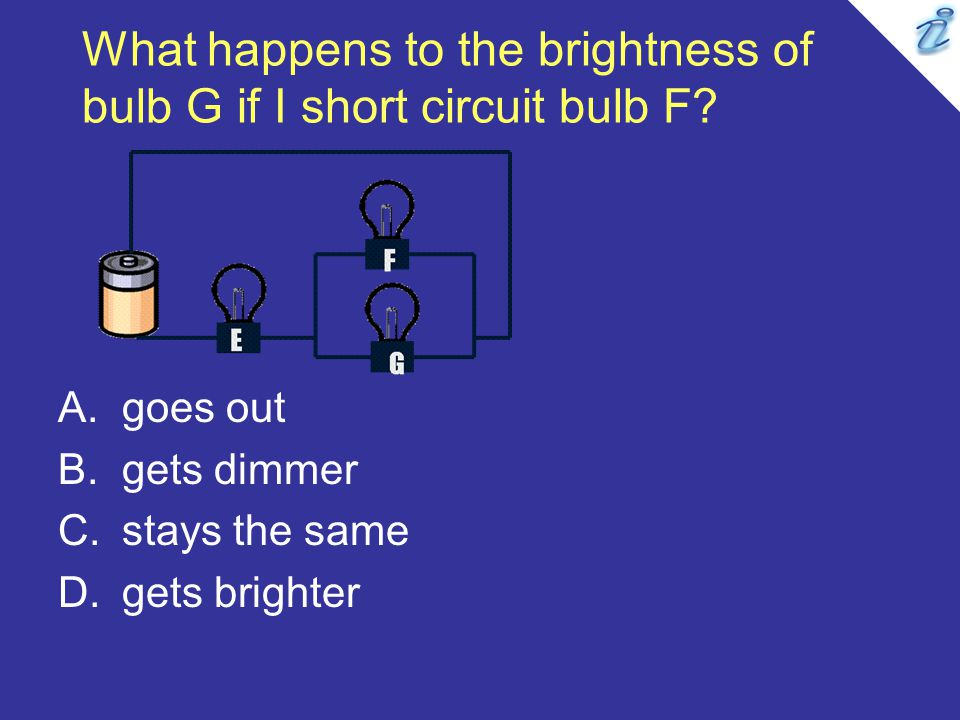 What happens to the brightness of bulb G if I short circuit bulb F? A.goes out B.gets dimmer C.stays the same D.gets brighter