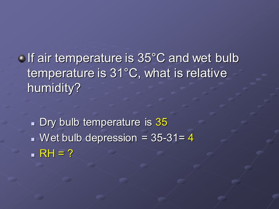 If air temperature is 35°C and wet bulb temperature is 31°C, what is relative humidity.
