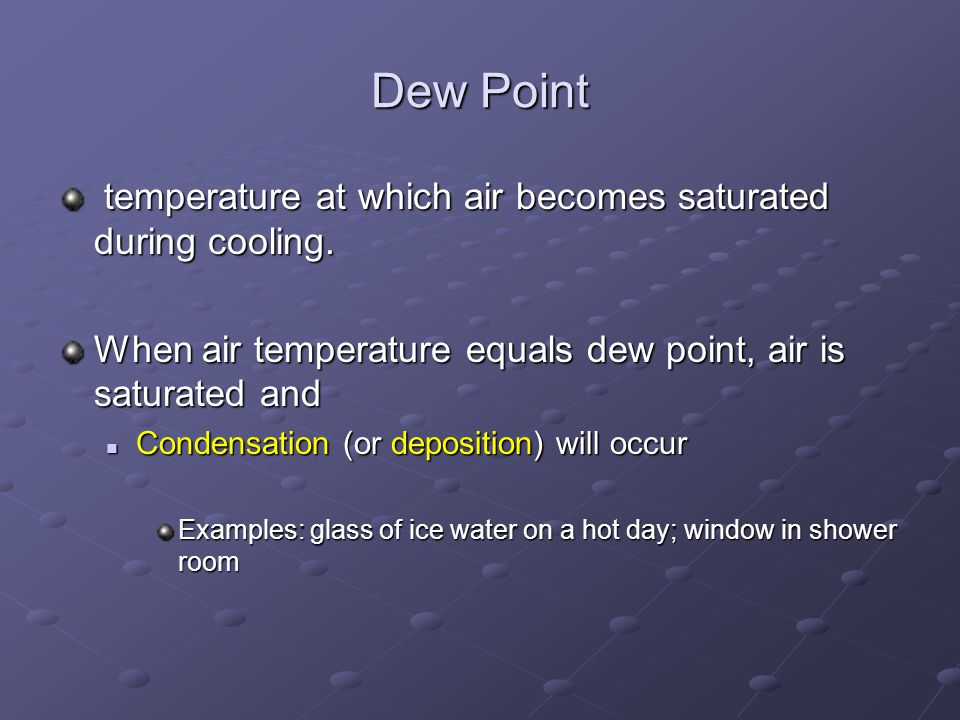 Dew Point temperature at which air becomes saturated during cooling.