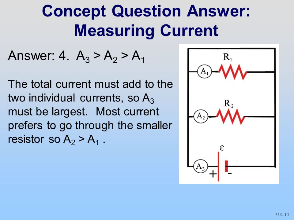 P18 - 14 Concept Question Answer: Measuring Current Answer: 4. A 3 > A 2 > A 1 The total current must add to the two individual currents, so A 3 must