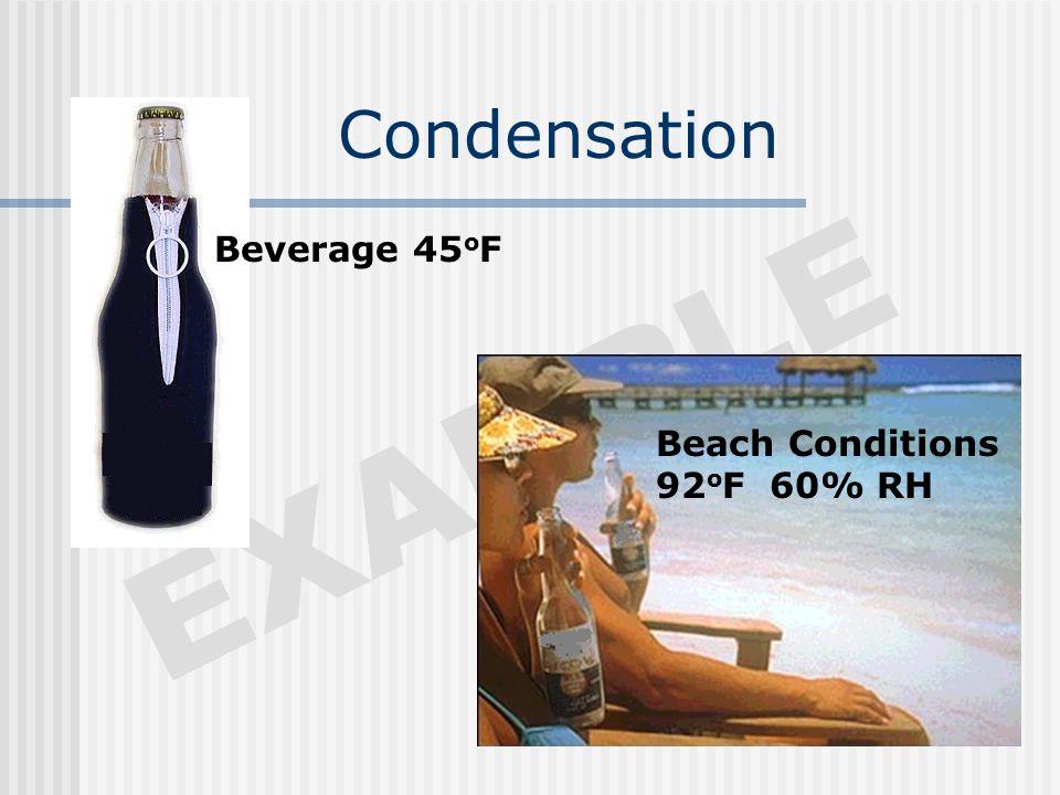 Condensation EXAMPLE Beach Conditions 92 o F 60% RH Beverage 45 o F