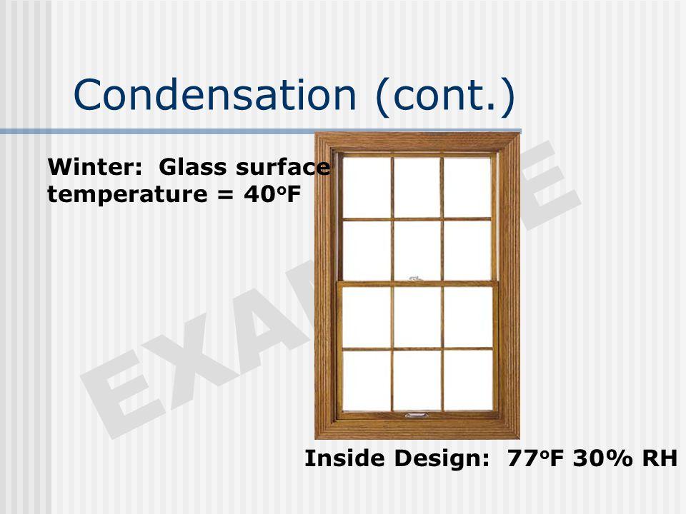 Condensation (cont.) EXAMPLE Winter: Glass surface temperature = 40 o F Inside Design: 77 o F 30% RH
