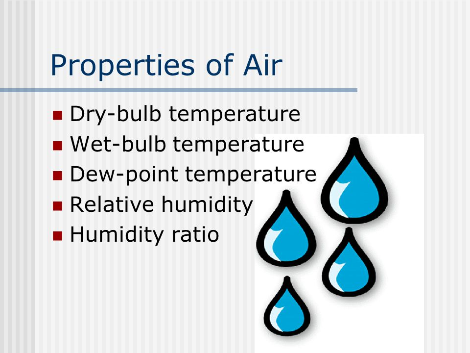 Properties of Air Dry-bulb temperature Wet-bulb temperature Dew-point temperature Relative humidity Humidity ratio