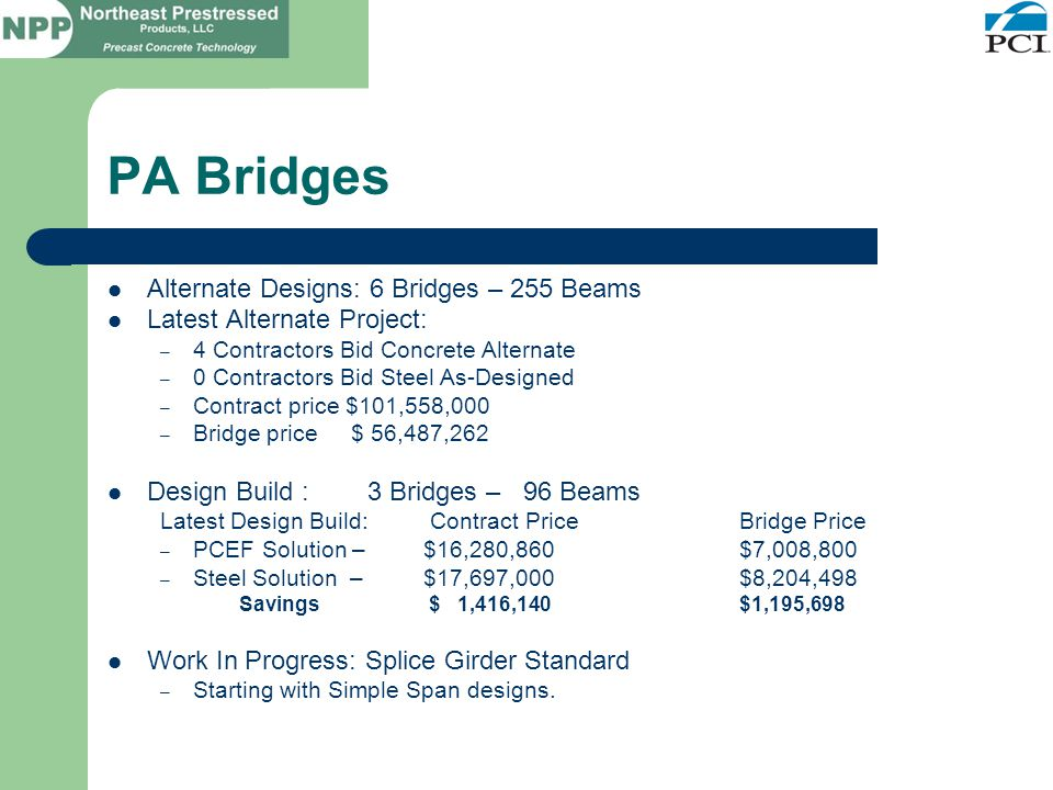 PA Bridges Alternate Designs: 6 Bridges – 255 Beams Latest Alternate Project: – 4 Contractors Bid Concrete Alternate – 0 Contractors Bid Steel As-Designed – Contract price $101,558,000 – Bridge price $ 56,487,262 Design Build : 3 Bridges – 96 Beams Latest Design Build: Contract PriceBridge Price – PCEF Solution – $16,280,860$7,008,800 – Steel Solution – $17,697,000 $8,204,498 Savings $ 1,416,140$1,195,698 Work In Progress: Splice Girder Standard – Starting with Simple Span designs.