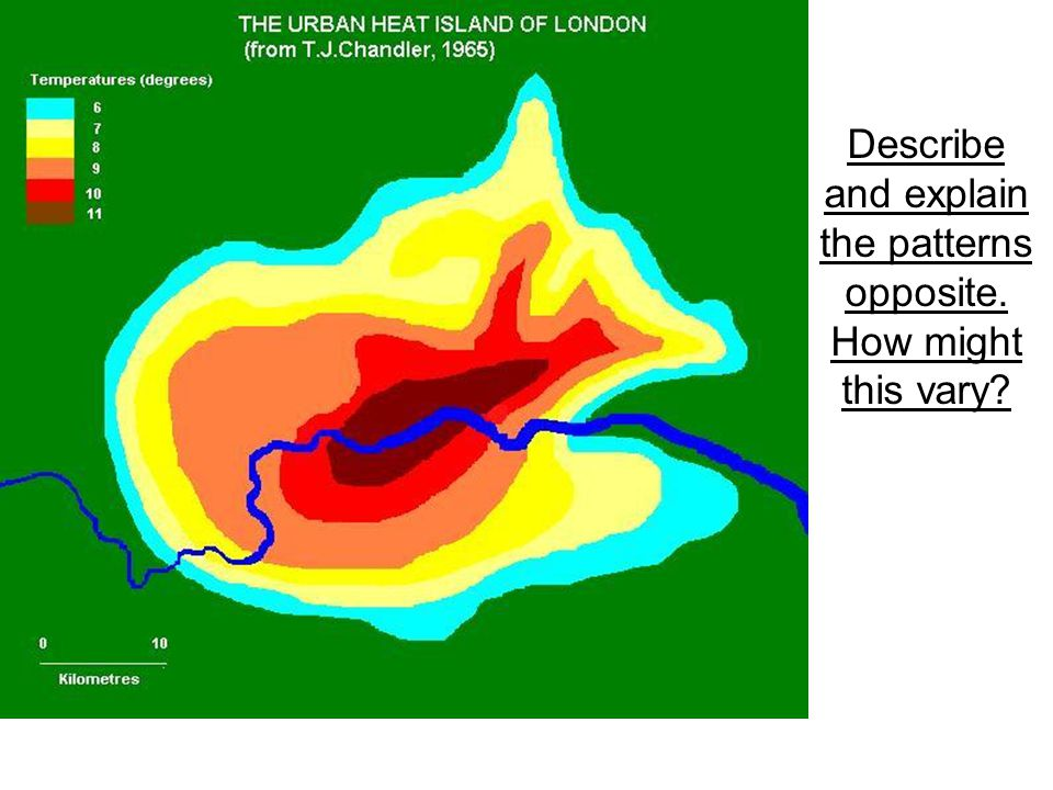 Describe and explain the patterns in the chart Weather characteristicVariation in Urban Area Sunshine duration5 to 15% less Annual mean temperature0.5-1.0 °C higher Winter maximum temperatures 1 to 2 °C higher Occurrence of frosts2 to 3 weeks fewer Relative humidity in winter2% lower Relative humidity in summer8 to 10% lower Total precipitation5 to 10% more Number of rain days10% more Number of days with snow14% fewer Cloud cover5 to 10% more Occurrence of fog in winter100% more Amount of condensation nuclei10 times more