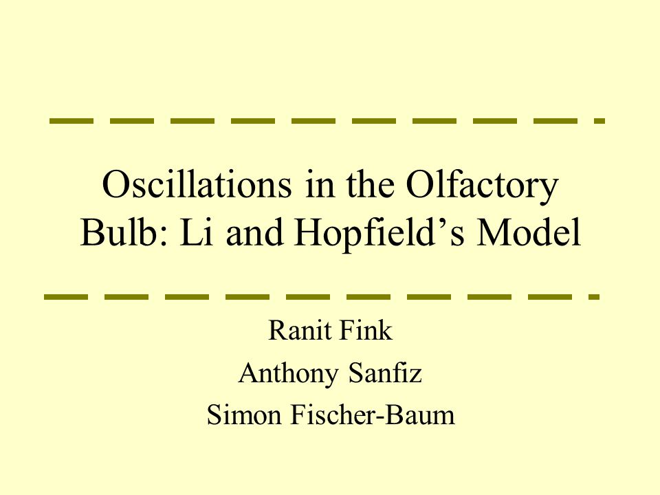Oscillations in the Olfactory Bulb: Li and Hopfield's Model Ranit Fink Anthony Sanfiz Simon Fischer-Baum