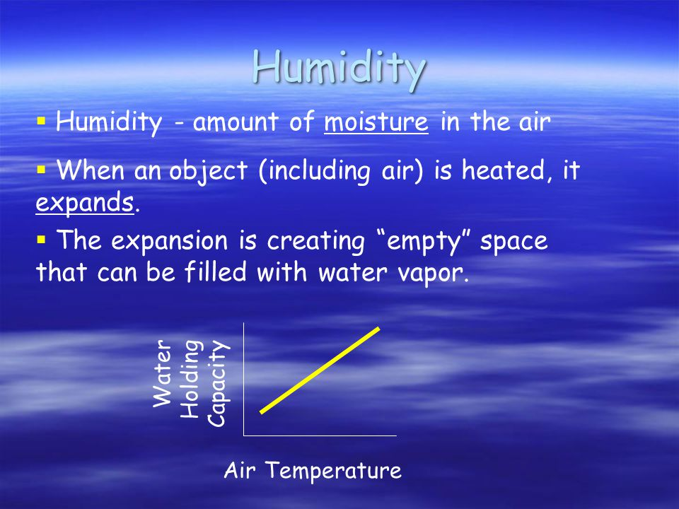 Humidity Water Holding Capacity Air Temperature  Humidity - amount of moisture in the air  When an object (including air) is heated, it expands.