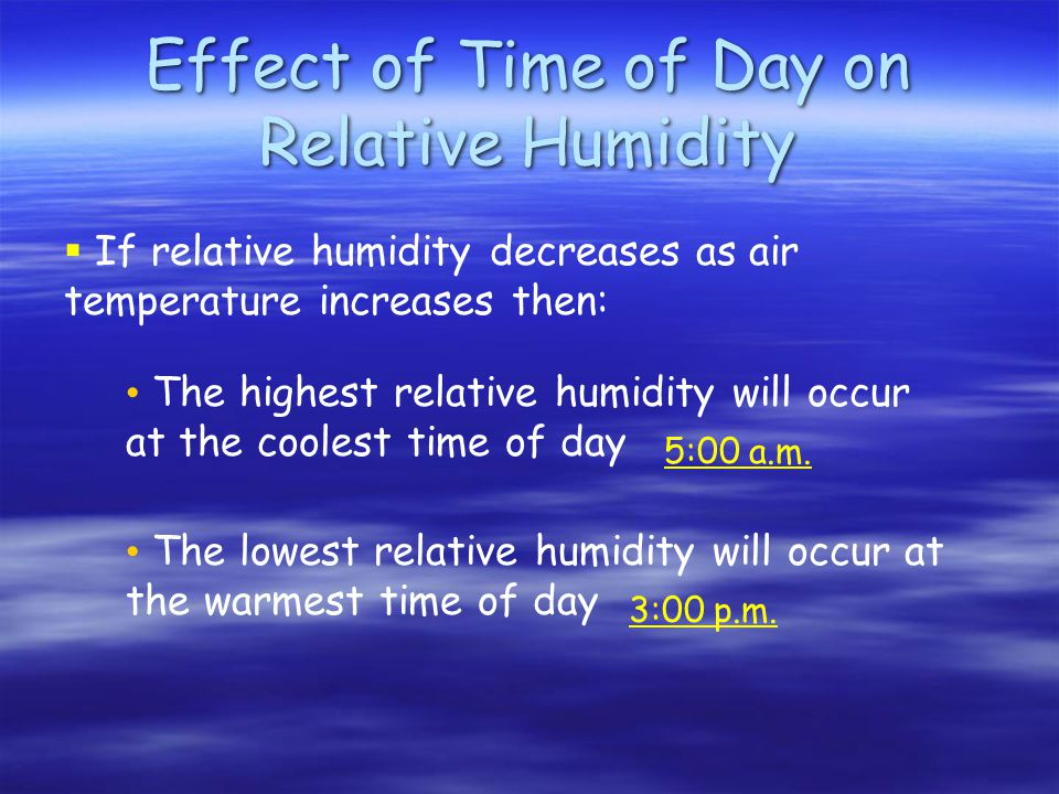 Effect of Time of Day on Relative Humidity The highest relative humidity will occur at the coolest time of day The lowest relative humidity will occur at the warmest time of day 5:00 a.m.