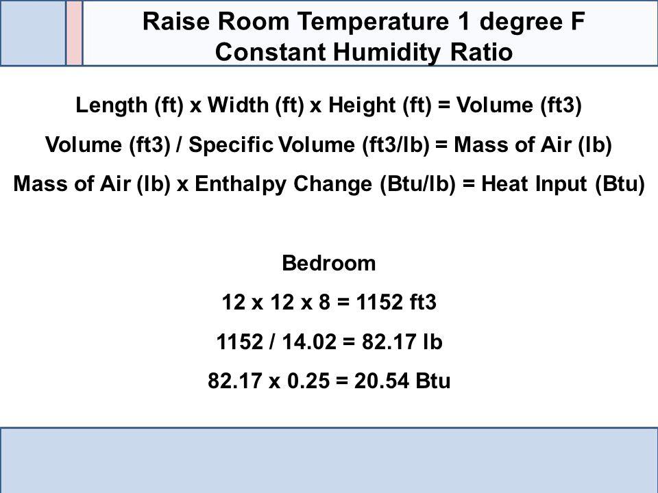 Length (ft) x Width (ft) x Height (ft) = Volume (ft3) Volume (ft3) / Specific Volume (ft3/lb) = Mass of Air (lb) Mass of Air (lb) x Enthalpy Change (B
