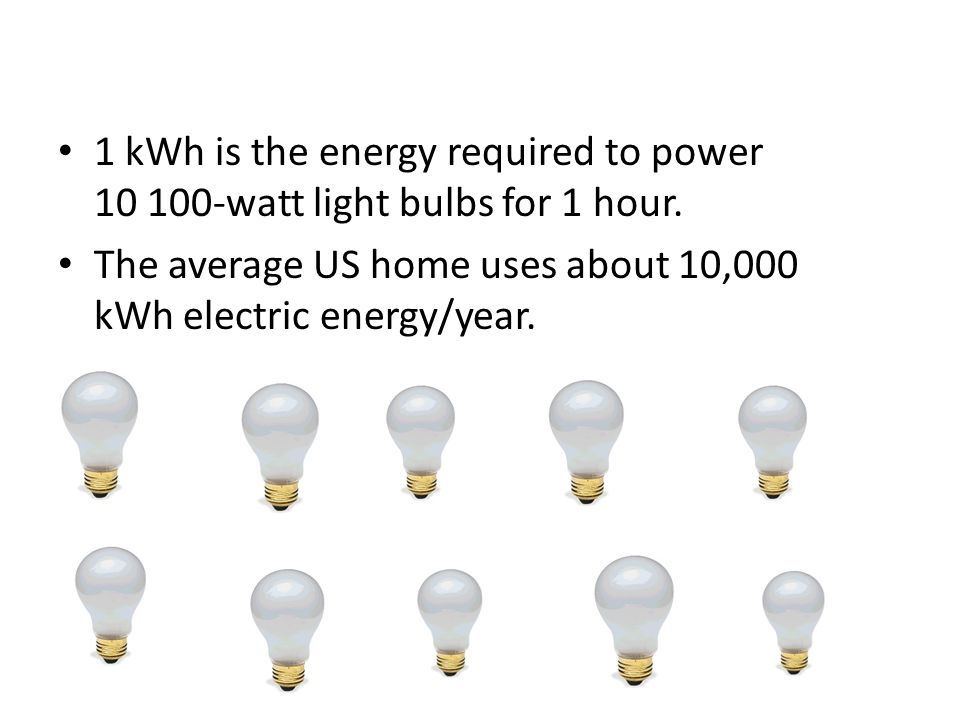 1 kWh is the energy required to power 10 100-watt light bulbs for 1 hour. The average US home uses about 10,000 kWh electric energy/year.