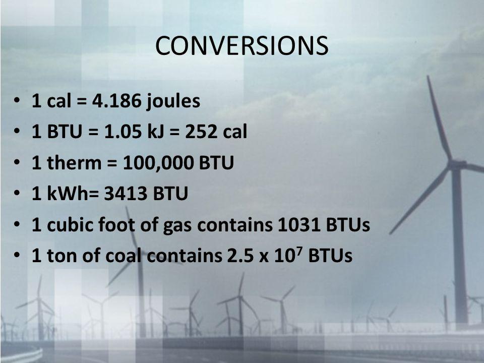 CONVERSIONS 1 cal = 4.186 joules 1 BTU = 1.05 kJ = 252 cal 1 therm = 100,000 BTU 1 kWh= 3413 BTU 1 cubic foot of gas contains 1031 BTUs 1 ton of coal contains 2.5 x 10 7 BTUs