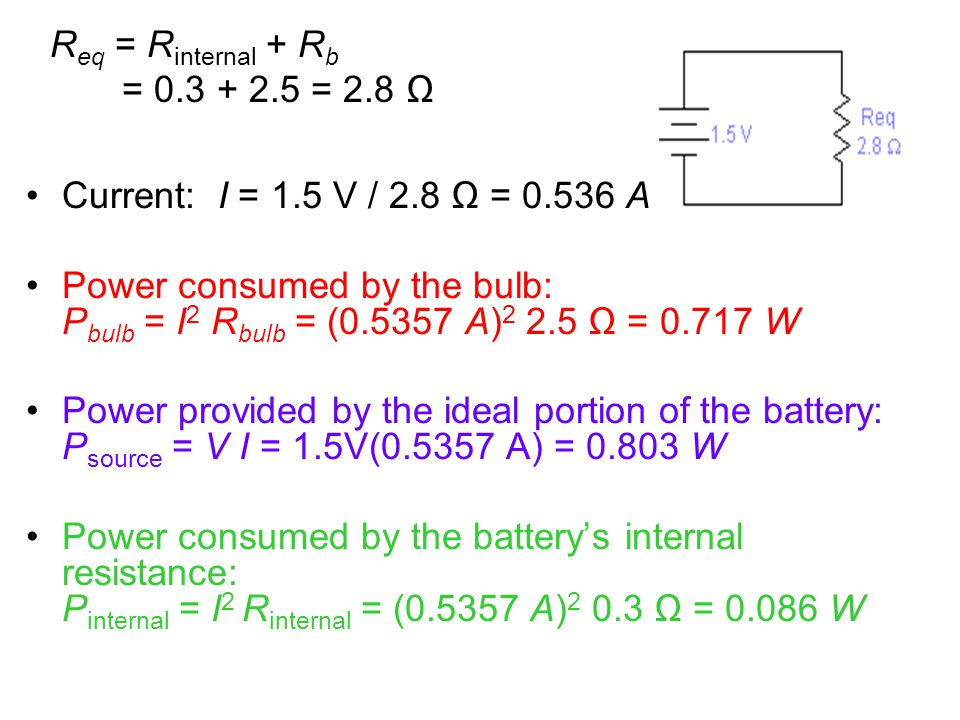 Current: I = 1.5 V / 2.8 Ω = 0.536 A Power consumed by the bulb: P bulb = I 2 R bulb = (0.5357 A) 2 2.5 Ω = 0.717 W Power provided by the ideal portio