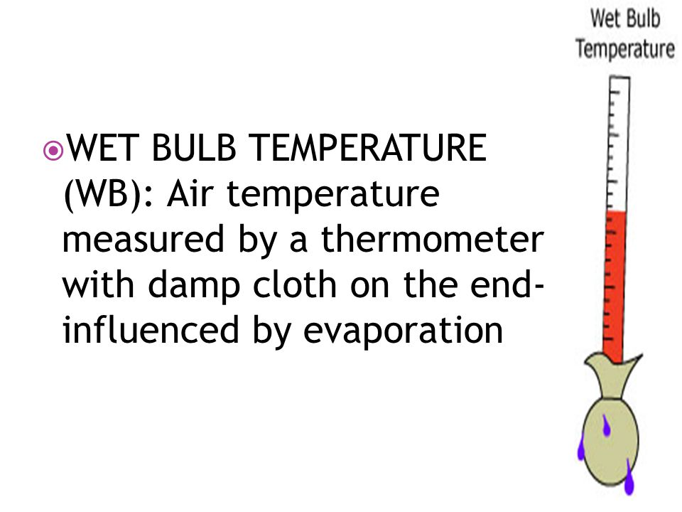  WET BULB TEMPERATURE (WB): Air temperature measured by a thermometer with damp cloth on the end- influenced by evaporation