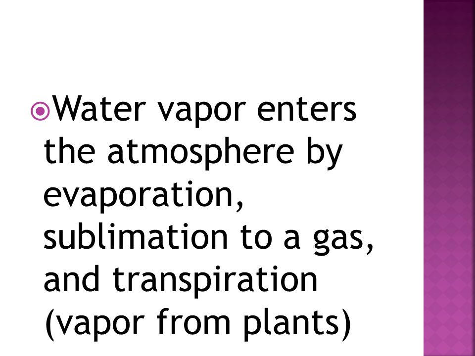  Water vapor enters the atmosphere by evaporation, sublimation to a gas, and transpiration (vapor from plants)