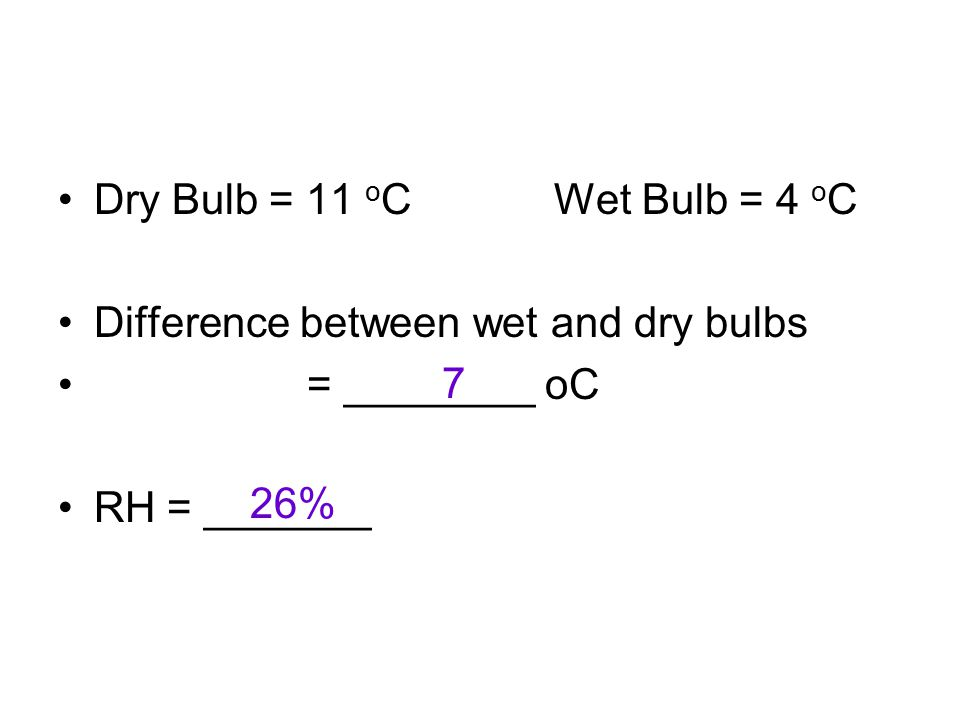 Dry Bulb = 11 o C Wet Bulb = 4 o C Difference between wet and dry bulbs = ________ oC RH = _______ 7 26%