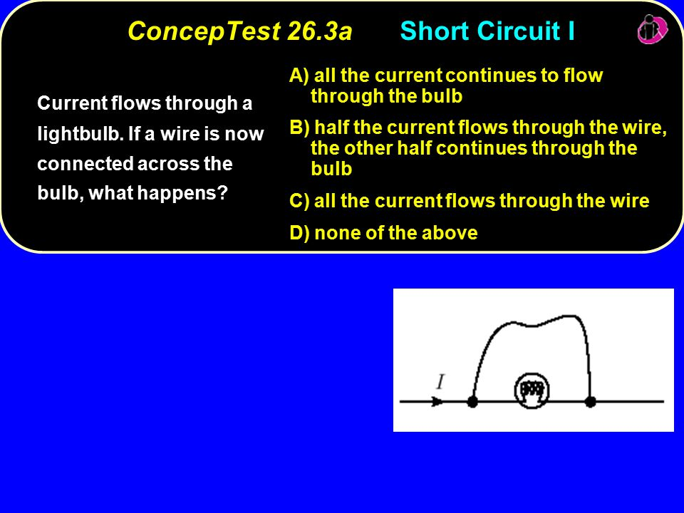 ConcepTest 26.3aShort Circuit I Current flows through a lightbulb.