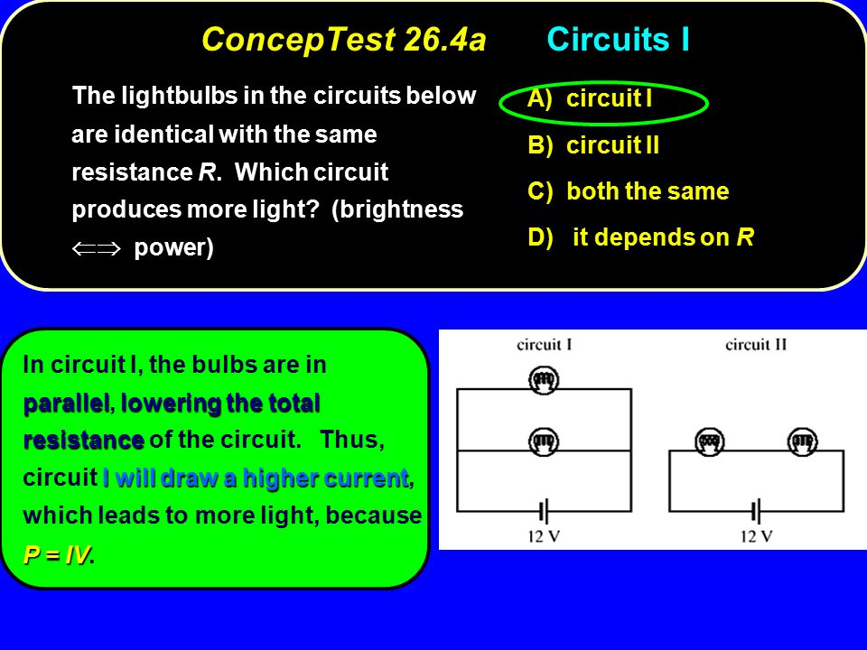 ConcepTest 26.4aCircuits I circuit I A) circuit I circuit II B) circuit II both the same C) both the same it depends on R D) it depends on R The lightbulbs in the circuits below are identical with the same resistance R.