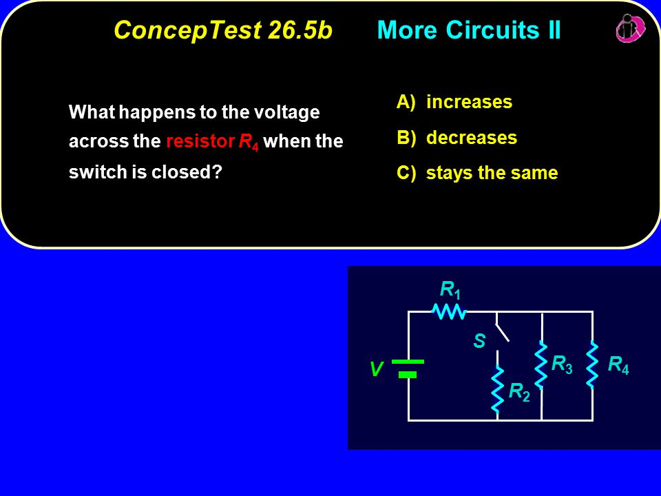 ConcepTest 26.5bMore Circuits II increases A) increases decreases B) decreases stays the same C) stays the same V R1R1 R3R3 R4R4 R2R2 S What happens to the voltage across the resistor R 4 when the switch is closed