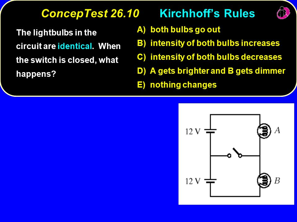 ConcepTest 26.10Kirchhoff's Rules ConcepTest Kirchhoff's Rules The lightbulbs in the circuit are identical.