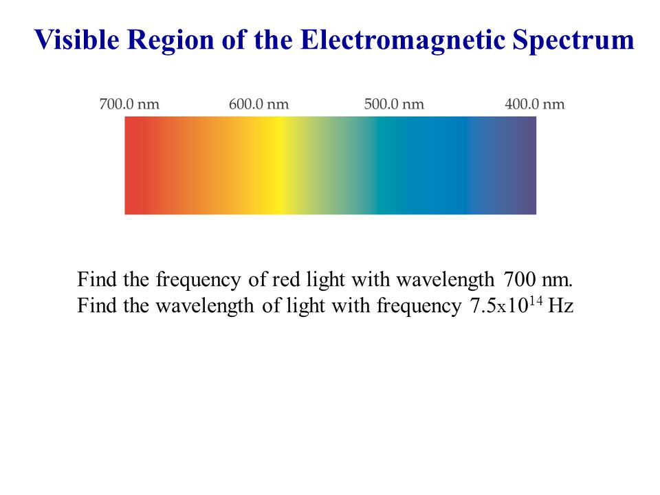 Visible Region of the Electromagnetic Spectrum Find the frequency of red light with wavelength 700 nm. Find the wavelength of light with frequency 7.5