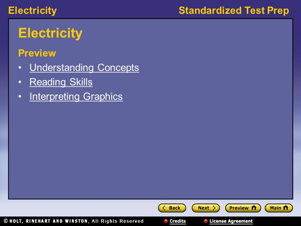 ElectricityStandardized Test Prep Electricity Preview Understanding Concepts Reading Skills Interpreting Graphics