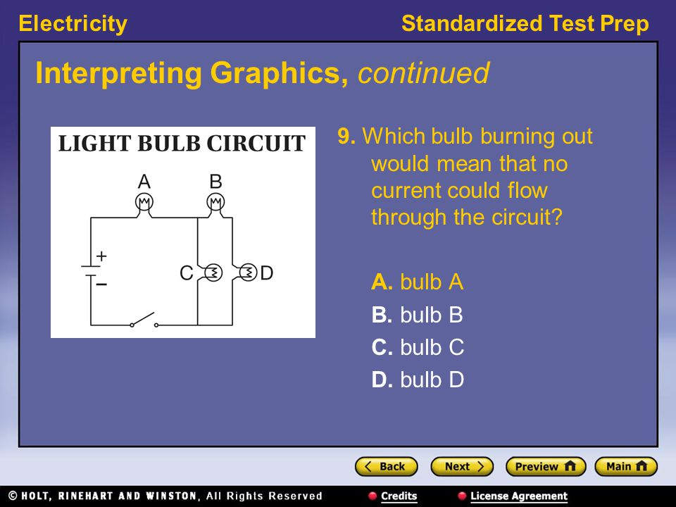 ElectricityStandardized Test Prep Interpreting Graphics, continued 9. Which bulb burning out would mean that no current could flow through the circuit