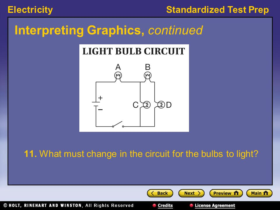 ElectricityStandardized Test Prep Interpreting Graphics, continued 11. What must change in the circuit for the bulbs to light?