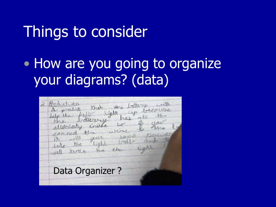 Things to consider How are you going to organize your diagrams (data) Data Organizer