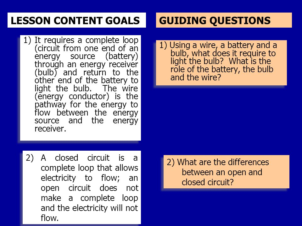 GUIDING QUESTIONS 1) Using a wire, a battery and a bulb, what does it require to light the bulb? What is the role of the battery, the bulb and the wir
