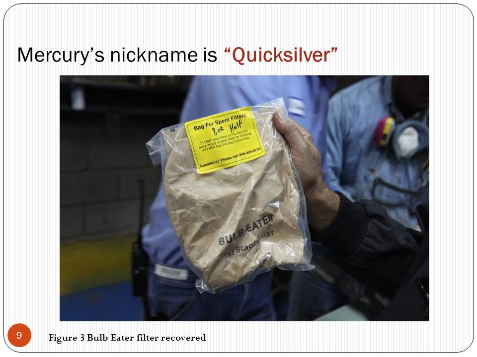 "Mercury's nickname is ""Quicksilver"" 9 Figure 3 Bulb Eater filter recovered"