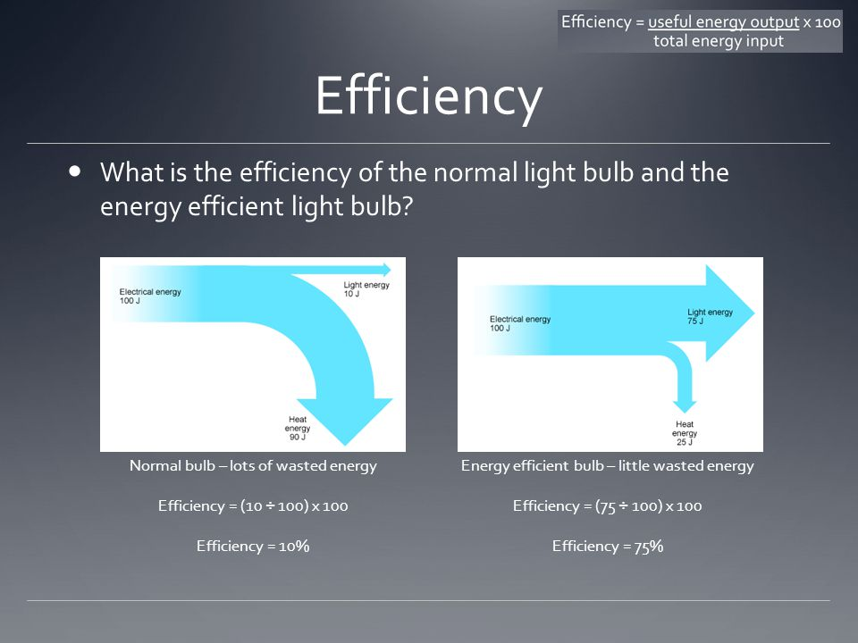 Efficiency What is the efficiency of the normal light bulb and the energy efficient light bulb.