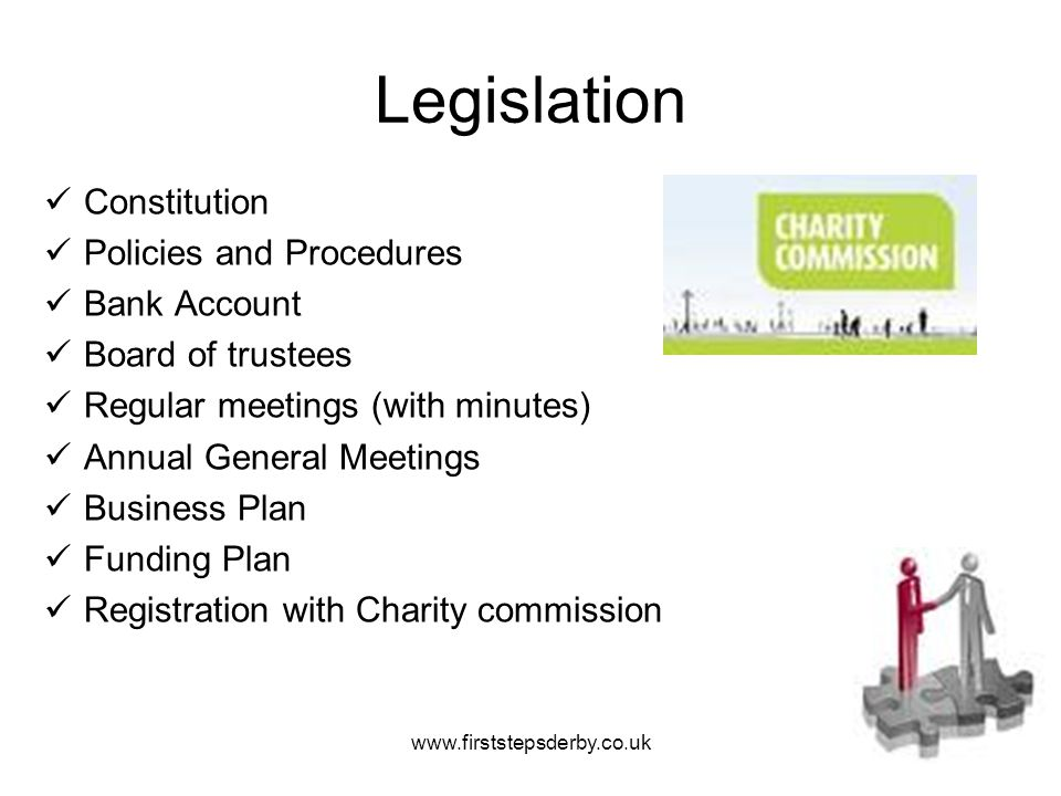 Legislation Constitution Policies and Procedures Bank Account Board of trustees Regular meetings (with minutes) Annual General Meetings Business Plan