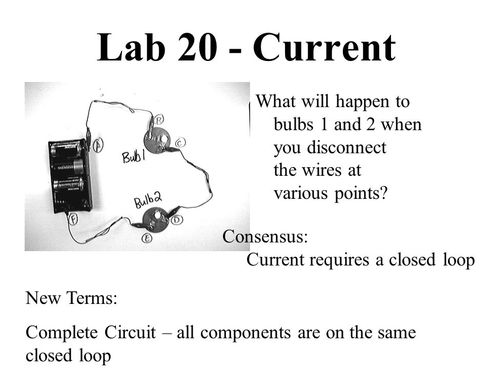 Lab 20 - Current What will happen to bulbs 1 and 2 when you disconnect the wires at various points? Consensus: Current requires a closed loop New Term