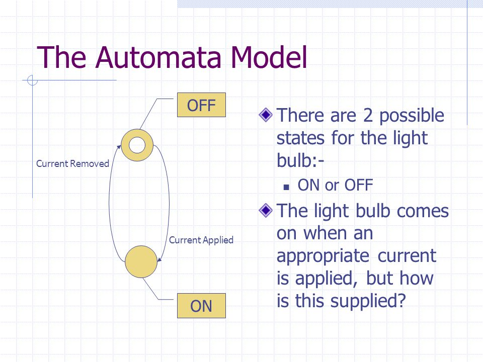 The Automata Model There are 2 possible states for the light bulb:- ON or OFF The light bulb comes on when an appropriate current is applied, but how is this supplied.