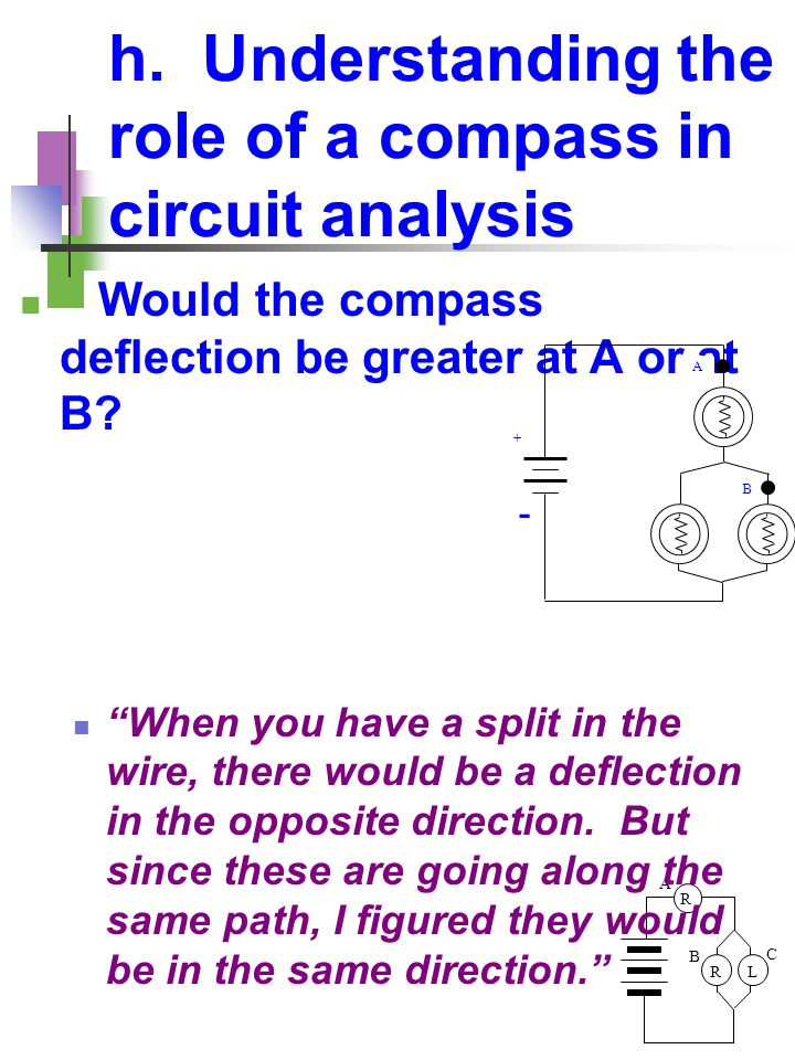 """R LR A B C h. Understanding the role of a compass in circuit analysis Would the compass deflection be greater at A or at B? """"When you have a split in"""