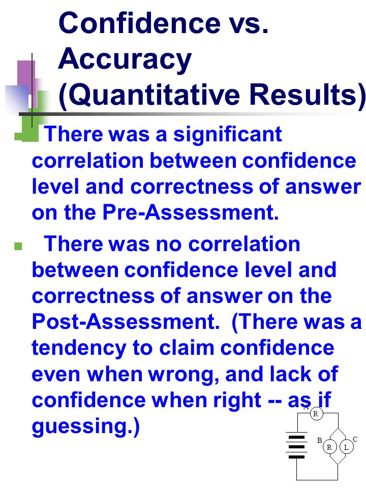 R LR A B C Confidence vs. Accuracy (Quantitative Results) There was a significant correlation between confidence level and correctness of answer on th