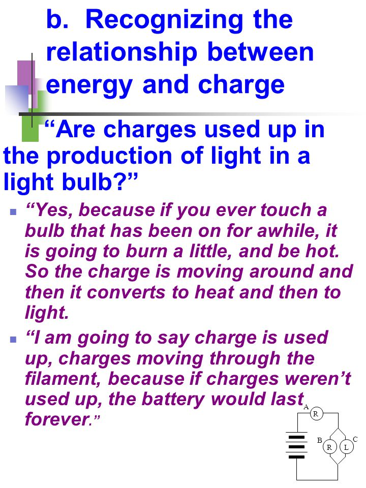 """R LR A B C b. Recognizing the relationship between energy and charge """"Are charges used up in the production of light in a light bulb?"""" """"Yes, because i"""
