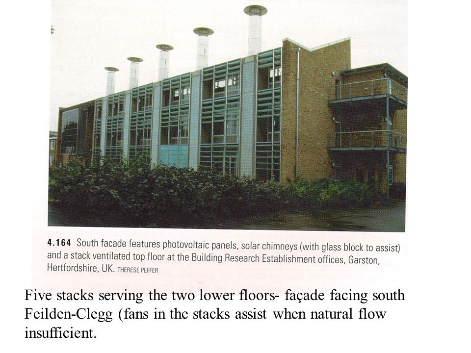 Five stacks serving the two lower floors- façade facing south Feilden-Clegg (fans in the stacks assist when natural flow insufficient.