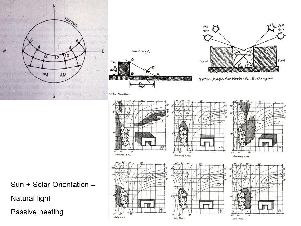 Sun + Solar Orientation – Natural light Passive heating