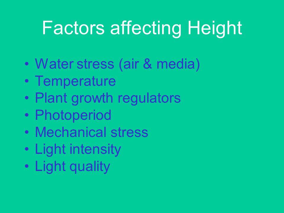Factors affecting Height Water stress (air & media) Temperature Plant growth regulators Photoperiod Mechanical stress Light intensity Light quality
