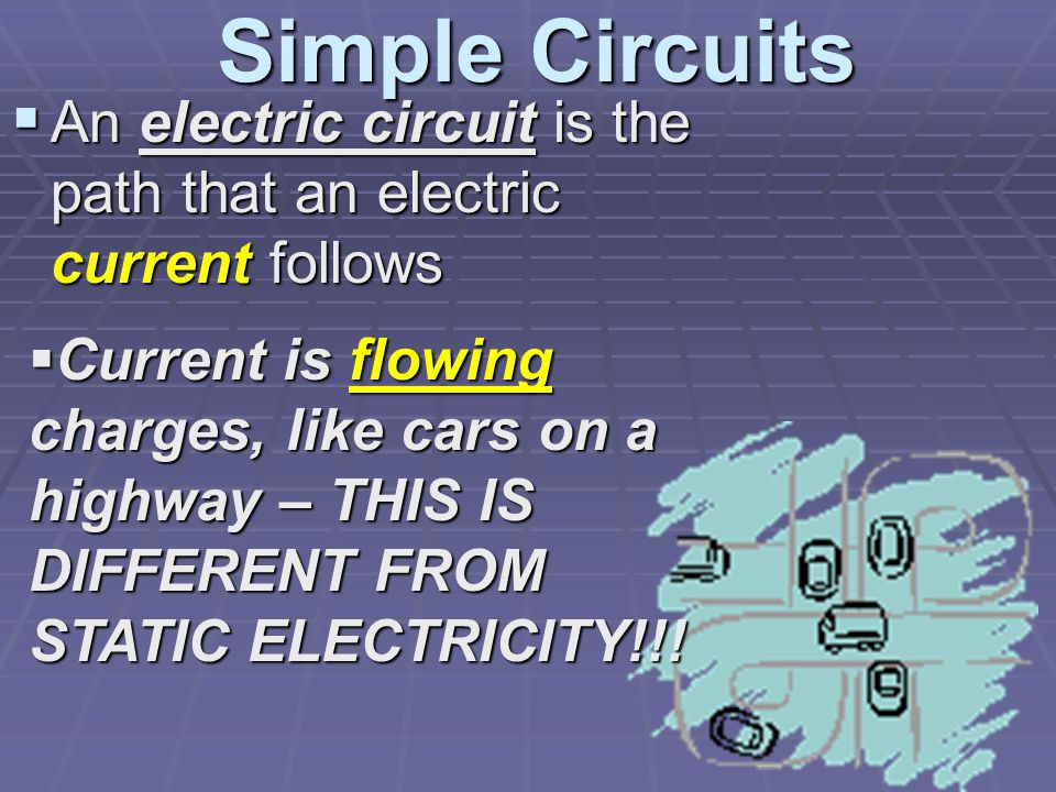 Simple Circuits  An electric circuit is the path that an electric current follows  Current is flowing charges, like cars on a highway – THIS IS DIFFERENT FROM STATIC ELECTRICITY!!!