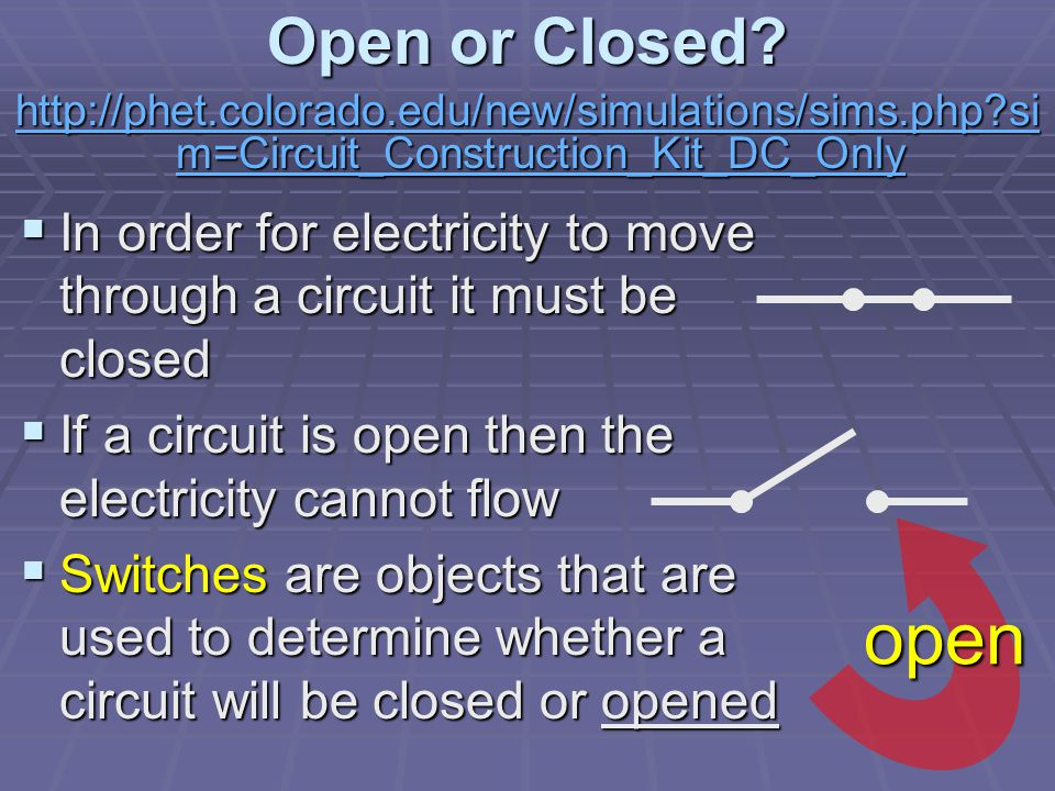 Open or Closed.