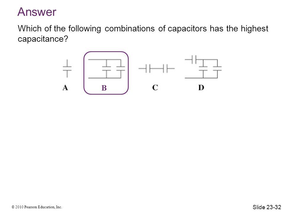 © 2010 Pearson Education, Inc. Answer Which of the following combinations of capacitors has the highest capacitance? B Slide 23-32