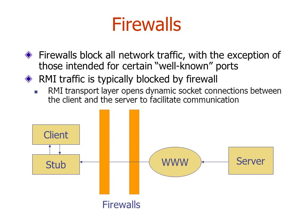 Firewalls Firewalls block all network traffic, with the exception of those intended for certain well-known ports RMI traffic is typically blocked by firewall RMI transport layer opens dynamic socket connections between the client and the server to facilitate communication Client Stub Firewalls WWW Server
