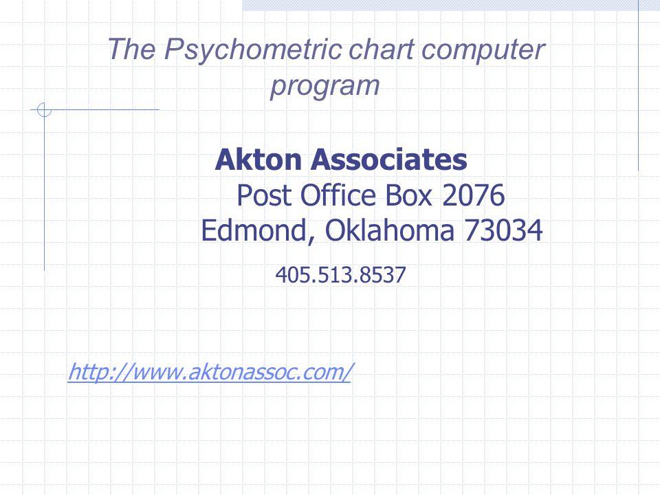 The Psychometric chart computer program Akton Associates Post Office Box 2076 Edmond, Oklahoma 73034 405.513.8537 http://www.aktonassoc.com/