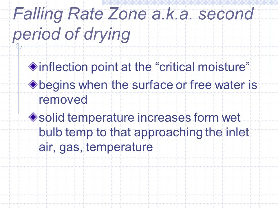 "Falling Rate Zone a.k.a. second period of drying inflection point at the ""critical moisture"" begins when the surface or free water is removed solid te"