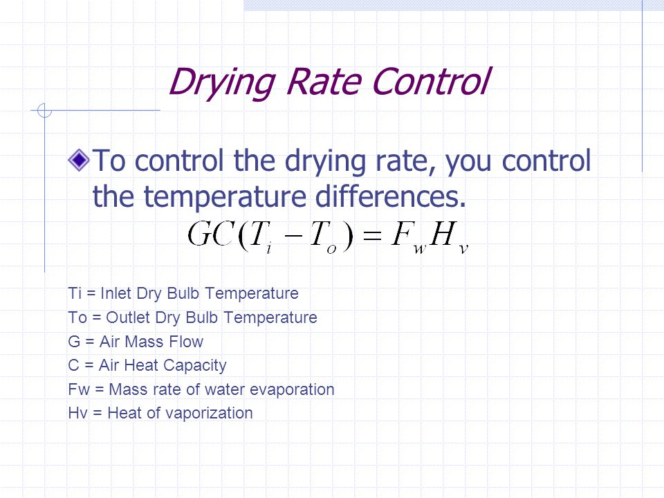 Drying Rate Control To control the drying rate, you control the temperature differences. Ti = Inlet Dry Bulb Temperature To = Outlet Dry Bulb Temperat