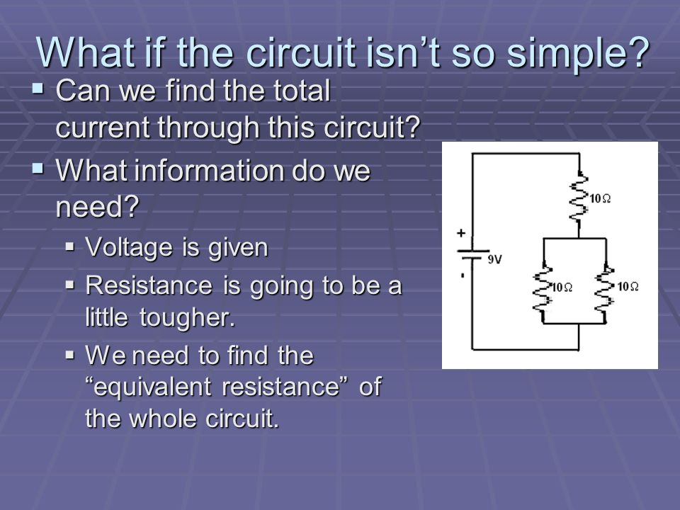 Applying Ohm's Law  It can be used to analyze a whole circuit or a single component.  For the circuit shown  What is the total current?  What is t