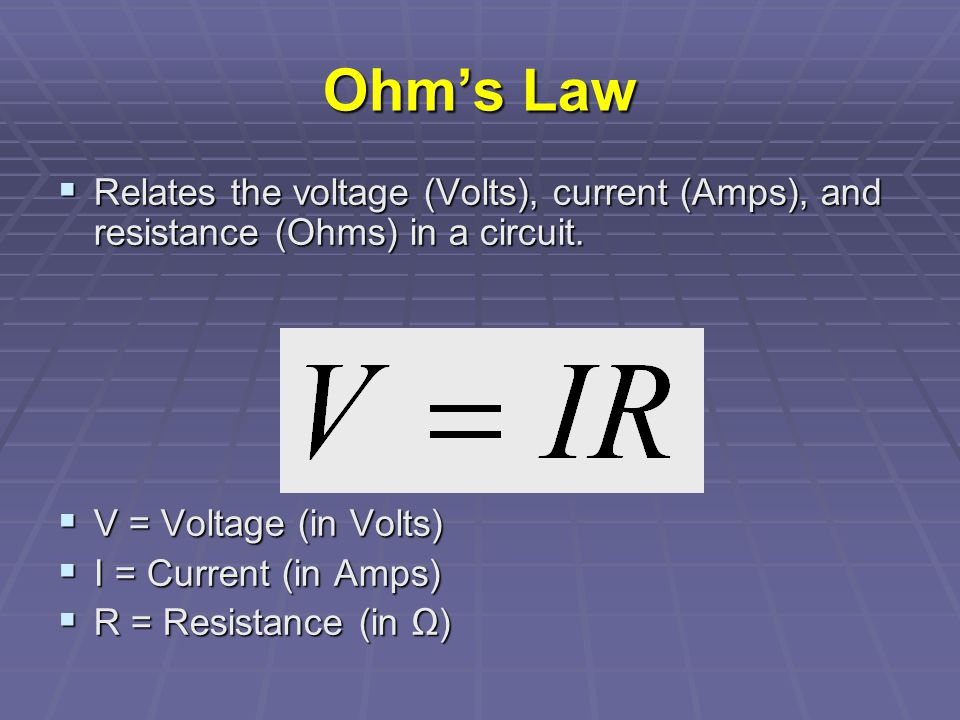 Water Analogy to EMF Low pressure PumpWater High pressure Valve Water Flow Constriction Source of EMF Resistor High potential Low potential Switch R I +- The source of emf (pump) provides the voltage (pressure) to force electrons (water) through electric resistance (narrow constriction).