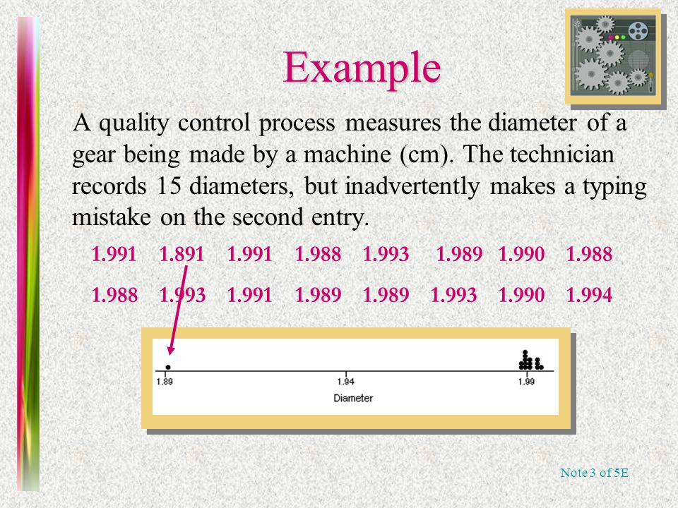 Note 3 of 5E Example A quality control process measures the diameter of a gear being made by a machine (cm).